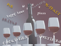 Advertising poster of a wine bar Royalty Free Stock Photos