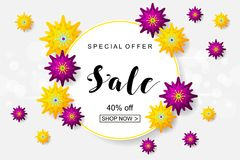 Advertising poster with yellow and green paper cut flowers. Can. Be used for promotions, posters, brochures, tickets, flyers, template, mockup. Spring sale for stock illustration