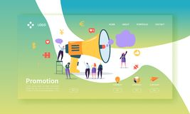 Advertising and Promotion Landing Page Template. Promo Marketing Website Layout with Flat People Characters Megaphone. Advertising and Promotion Landing Page vector illustration