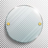 Advertising Round Glass Blank. 3d Realistic Vector Illustration. Circle Advertising Glass Board. Mock-up Template On Transparent B. Advertising Round Glass Blank Stock Photos