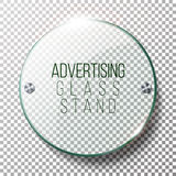 Advertising Round Glass Blank. 3d Realistic Vector Illustration. Mock-up Template On Transparent Background. Advertising Round Glass Blank. 3d Realistic Vector Stock Photos