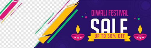 Advertising sale banner design with 50% discount offer and flat. Style oil lamps on blue background. Website banner for Diwali sale with space for your product stock illustration