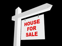 Advertising sale of house. On a black background Royalty Free Stock Photo