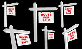 Advertising sale of house. On a black background Royalty Free Stock Image