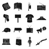 Advertising set icons in black style. Big collection of advertising vector symbol stock illustration Stock Image