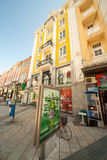 Advertising on a shopping street in Varna Bulgaria Stock Photos