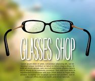 Advertising sign, banner, poster for the store glasses, optics, for the visually impaired. For your design. Focus effect. The sea in the background. 10 eps vector illustration