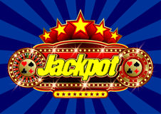 Advertising signboard Casino - Jackpot in vector. Advertising signboard Casino in vector: word Jackpot, roulette, casino token chips, card suits, stars and flare Royalty Free Stock Photography