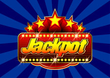 Advertising signboard Casino - Jackpot in vector. Advertising signboard Casino in vector: word Jackpot, stars and flare on a blue background vector illustration