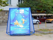 Advertising stand with information about the Volleyball Men`s World Championship 9-23 September on Varna street royalty free stock images