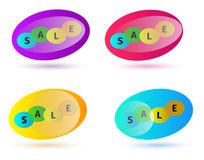Advertising stickers sale. Four variants Royalty Free Stock Photos