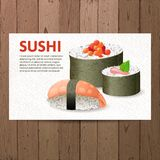 Advertising sushi card Royalty Free Stock Photos