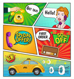 Advertising Of Taxi Comic Book Page. Advertising of taxi service comic book page including speech bubbles discounts, woman with phone, radio vector illustration Stock Photography