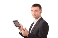 Advertising technology. Man with a tablet, advertising technology royalty free stock photo