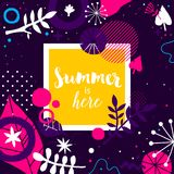 Advertising template with colorful hand drawn elements. Floral abstract design, modern illustration, creativity. Useful for invitations, posters, presentations Royalty Free Stock Photo
