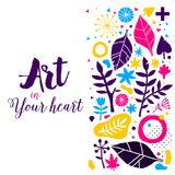 Advertising template with colorful hand drawn elements. Floral abstract design, modern illustration, creativity. Useful for invitations, posters, presentations Royalty Free Stock Images