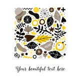 Advertising template with colorful hand drawn elements. Floral abstract design, modern illustration, creativity. Useful for invitations, posters, presentations Stock Photos