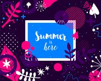 Advertising template with colorful hand drawn elements. Floral abstract design, modern illustration, creativity. Useful for invitations, posters, presentations Royalty Free Stock Image