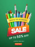 Advertising template or flyer design with colored pencil, highlighter pen, painting brush and 50% discount offer for Back To. School Sale royalty free illustration