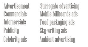 Advertising terms in English Stock Image