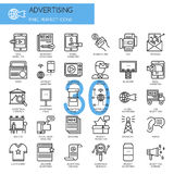 ADVERTISING , thin line icons set Royalty Free Stock Photography