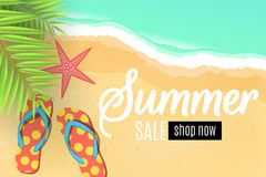 Advertising web banner for the summer sale. Flip flops on the beach. Leaves of a palm tree. Special offer. Seasonal discounts. Sta. Rfish. Top view. Cartoon flat Royalty Free Illustration