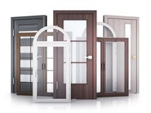 Windows and doors on white background. Advertising Windows and doors on white background. 3d illustration Stock Photography