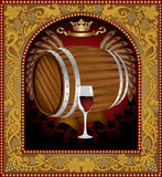 Advertising wine barrel beer banner frame Royalty Free Stock Photos