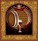 Advertising wine barrel beer banner frame royalty free illustration