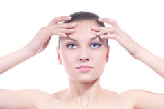 Advertising Woman with hands on forehead isolated Stock Photography