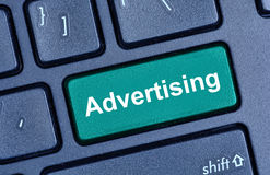 Advertising word on computer keyboard stock images
