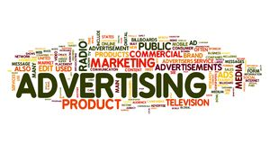 Advertising word in tag cloud royalty free illustration
