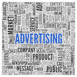 ADVERTISING Word Tag Cloud Design. Close up ADVERTISING Text at the Center of Word Tag Cloud on White Background Stock Image