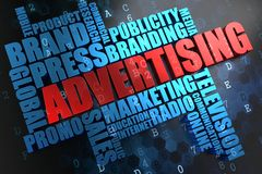 Advertising. Wordcloud Concept. Stock Photos