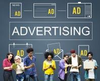 Advertisting商业营销数字式烙记的概念 库存照片