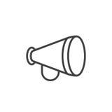 Advertizing meddelande, megafonlinje symbol stock illustrationer