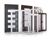 Advertizing Windows och dörrar på vit bakgrund Arkivfoto