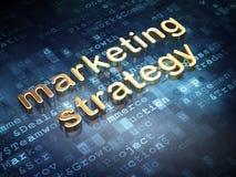 Advertizingbegrepp: Guld- marknadsföringsstrategi på digital bakgrund Arkivfoto