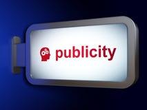 Advertizingbegrepp: Publicitet och huvud med kugghjul på affischtavlabakgrund Royaltyfri Fotografi