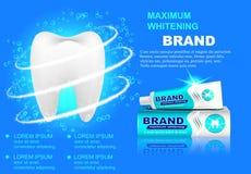 Advertizingblekmedeltandkräm, mousserande vita tänder Royaltyfria Bilder