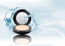Advertizingtidskriftsida, färgstänk av vatten Mineraliskt pulver för realistisk plast-svartöverenskommelse Kosmetisk sminkprodukt Arkivbilder