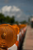 Advertência na laranja Imagens de Stock