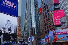 Advertsing and Police Department in Times Square. NEW YORK CITY, USA, September 10, 2017 :  Times Square is a major commercial intersection, tourist destination Stock Images