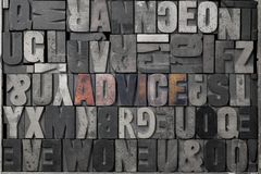 Advice. The word advice written out in old letterpress blocks Royalty Free Stock Images