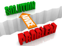 Advice is the bridge from PROBLEM to SOLUTION. Stock Image