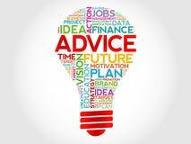 ADVICE bulb. Word cloud, business concept Royalty Free Stock Photos