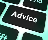 Advice Computer Key Showing Assistance And Help Royalty Free Stock Images