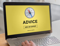 Advice concept on a laptop Royalty Free Stock Photo