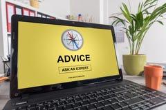 Advice concept on a laptop Stock Photos