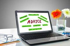 Advice concept on a laptop screen Stock Photos